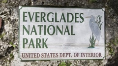 Everglades entrance sign, Florida Stock Footage