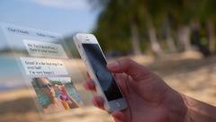 SMS Chat on the Beach. Animation Messages - stock footage