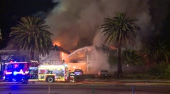 Restaurant fire with Fire Truck Stock Footage