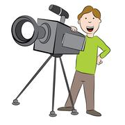 Cartoon Cameraman with Camera - stock illustration