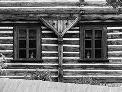 Two windows of wooden farmhouse Stock Photos