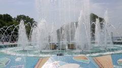 Fountain on the waterfront Sports harbor Vladivostok. Russia - stock footage