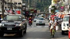 Traffic in Downtown Phuket Thailand - stock footage