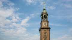 Michel Church tower with blue sky and clouds in the evening, timelapse Stock Footage
