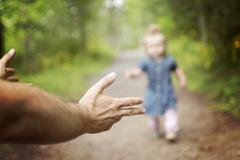 Father baby walk - stock photo