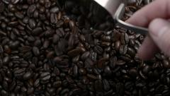 Roasted Coffee beans poured from a metal measuring scoop 1 Stock Footage