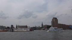 Hamburg Speicherstadt on boat trip round the Hamburg harbour - stock footage