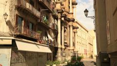 Old Sicily street and church 2 Stock Footage