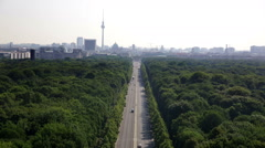 Berlin cityscape from Victory monument to Brandenburg Gate Stock Footage