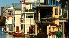 Victoria Canada Floating Houseboat Community Stock Footage