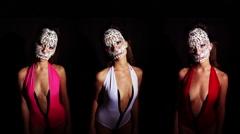 Skull venetian carnival mask sexy erotic woman Stock Footage