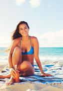 Summer Lifestyle, Happy Carefree Young Woman at the Beach - stock photo
