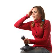 Girl with a joystick - stock photo