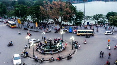Bird view of old district near famous attraction-Hoan Kiem Lake, Hanoi, Vietnam. Stock Footage