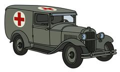Vintage military ambulance - stock illustration