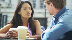4K Attractive couple at street cafe in the city - stock footage
