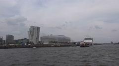 Cruise ship AIDAstella at the pier at Hamburg Speicherstadt Stock Footage