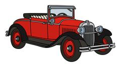 Vintage red roadster - stock illustration