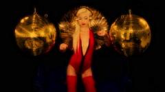 gold sexy babe gogo dancer diva party disco woman - stock footage