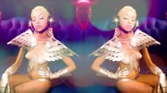 Silver sexy babe gogo dancer diva party disco woman Stock Footage
