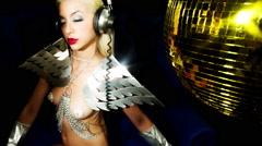 silver sexy babe gogo dancer diva party disco woman - stock footage