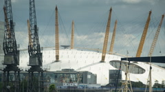 docklands canary wharf london o2 millenium dome - stock footage