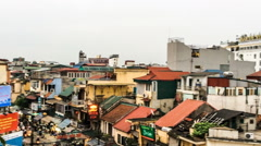 The houses in the old district of Hanoi city, Vietnam. Panning Stock Footage