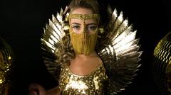 Gold sexy babe gogo dancer diva party disco woman Stock Footage