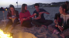 Music, s'mores and friends by the fire - stock footage