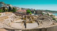 Amphitheater ruins in Tarragona, Costa Daurada, Catalonia, Spain 4k Stock Footage