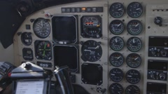 RFDS Flying Doctor Kingair plane cockpit ignition dials start up Stock Footage