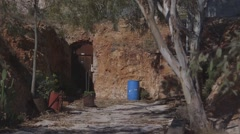 Dugout house entrance at opal mining town of White Cliffs, NSW, Australia Stock Footage