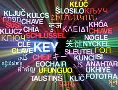 Key multilanguage wordcloud background concept glowing - stock illustration