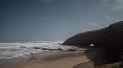 Legzira cliff sea ocean morocco wild night stars starlapse nature Stock Footage