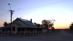 Old outback postmaster's house, Whitecliffs NSW, dawn chorus Stock Footage
