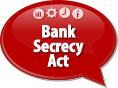 Bank Secrecy Act Business term speech bubble illustration Stock Illustration