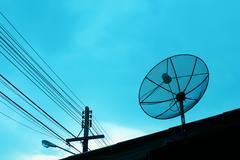Satellite dish on the roof, Thailand Stock Photos
