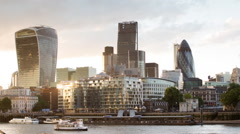 London city  skyline financial business skyscrapers sunset Stock Footage