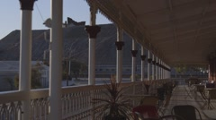 Federation style verandah balcony perspective, train arrives Broken Hill Stock Footage