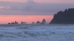 Waves breaking at Rialto Beach Stock Footage