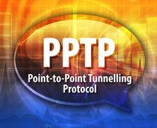 Stock Illustration of PPTP acronym definition speech bubble illustration