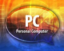 Stock Illustration of PC acronym definition speech bubble illustration