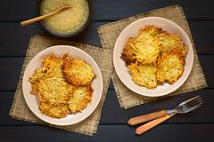 Potato Pancake or Fritter with Apple Sauce - stock photo