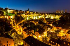 Luxembourg City downtown dusk Stock Photos