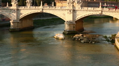 Castel Sant'angelo and Tiber River Stock Footage