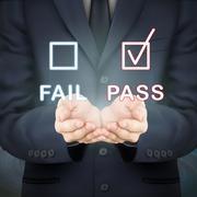 businessman holding evaluation checkbox - stock illustration