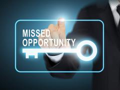 Stock Illustration of male hand pressing missed opportunity key button