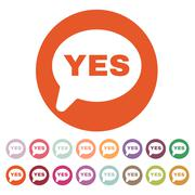 The YES speech bubble icon. Social network and web communicate symbol. Flat Stock Illustration
