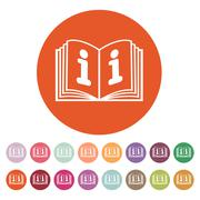 The open book icon. Manual and tutorial, instruction, encyclopedia symbol. Flat - stock illustration