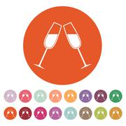 The clink glasses icon. Wineglass and goblet, celebration symbol. Flat Stock Illustration